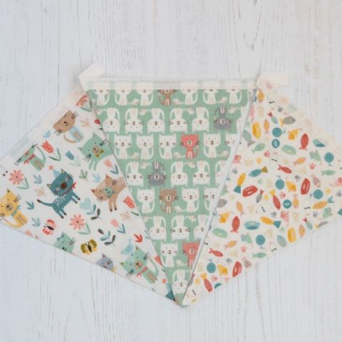 Cats at Play - 9 flags Cotton Bunting  (Price inc P&P)